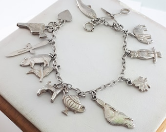 Vintage Sterling Silver Charm Bracelet with 13 Sterling Charms Gift for Her Gift for Mom
