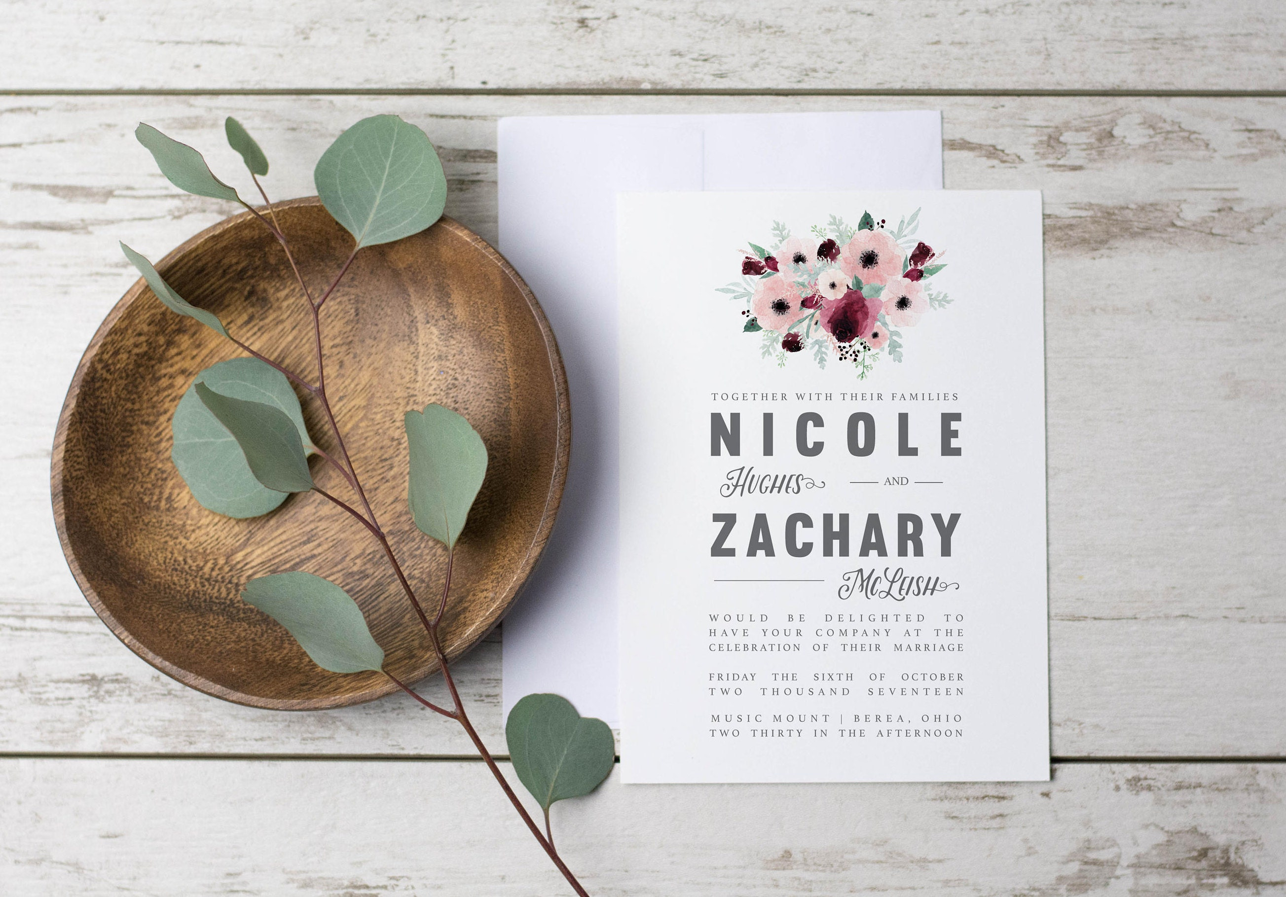 Wedding Invitation Template Printable Rustic Floral Mauve