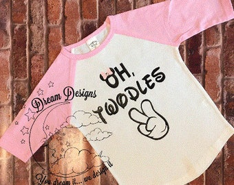 oh twodles, minnie mouse, two year old shirt, i'm two, 2nd birthday, raglan, two year old birthday shirt, girls birthday shirt