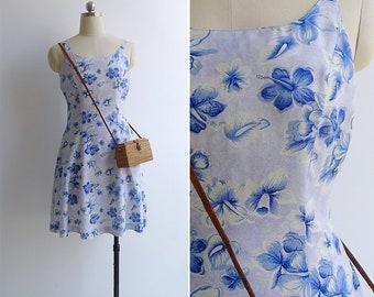 Vintage 90's 'Dixie Sports' Tropical Blue Rayon Sun Dress S