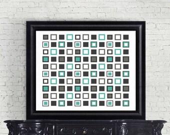 Boho Squares Geometric Shapes Blue Black Grey Counted Cross Stitch Pattern - PDF Digital Download