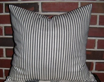 Ticking Stripe Pillow Cover, Black, Gray, Blue, Red, Pillow Cover, Shabby Chic Pillow, French Ticking Stripe, Cottage Chic