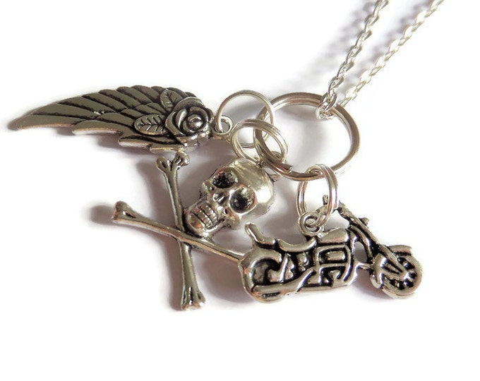 "SONS of ANARCHY inspired 24"" silver tone charm necklace motorbike skull angel wing rose fan gift jewellery Uk"