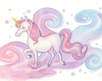 Colorful Fantasy Unicorn Watercolor Painting
