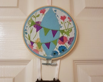Embroidered, hooped, hot air balloon, wall hanging, nursery decor.