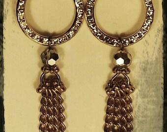 Gold Tone Crystal Hoop Tassle Earrings