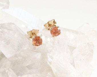 Gold filled sunstone stud earrings