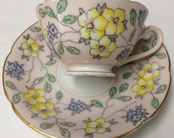 Vintage Floral Teacup and Saucer Set Diamond Co.