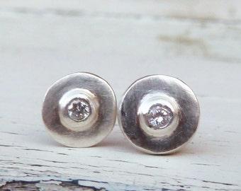 Tiny diamond earrings , silver diamond earrings