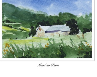 Landscape ORIGINAL Miniature Watercolour Meadow Barn, ACEO English countryside Watercolor  For him For her Home decor Wall art Gift Idea