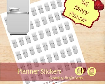 Clean Fridge Stickers|Cleaning Singles Stickers|Single Sheet Stickers|Big Happy Planner Stickers|Happy Planner Stickers|Create 365|MAMBI