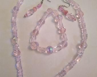 Verre rose et givré 3 pièces ensemble de bijoux