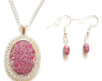 Original handmade polymer clay necklace & matching earrings