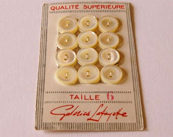 French Vintage Mother of Pearl Buttons on Original Card Galeries Lafayette Sewing Crafting French Style Old/New Stock