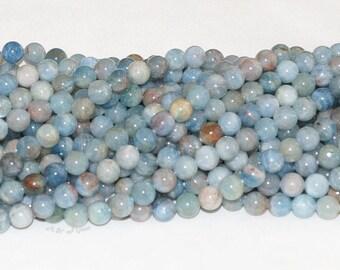 "Aquamarine Multi Color Beryl 8mm Round Gemstone Bead - 15.5"" Strand"