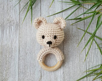 Bear Rattle - Baby Rattle - Crochet Rattle - 5 inches - Cotton - Natural Wood - Bear Rattle Toy - Teething Toy - Baby Shower Gift Idea