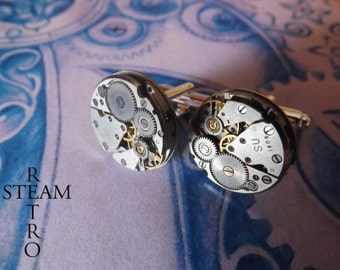 Mens Steampunk Cufflinks - 18mm cufflinks - wedding cufflinks - cufflinks - groomsman gifts - Christmas gift - cuff links - mens jewellery