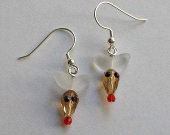 sterling silver Red nose Reindeer swarovski crystal earrings