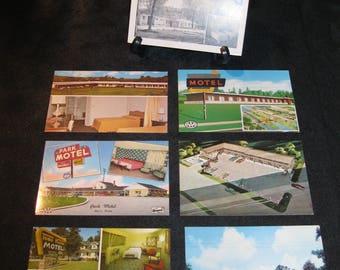 Visit the No-Tell Mo-Tel on a nostalgic journey, set of 7 vintage postcards, S Dakota, Michigan, Tennessee, Illinois,  Colorado, N Carolina