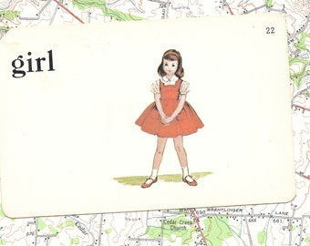 GIRL Vintage Vocabulary Flashcard