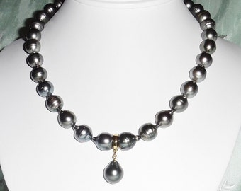 """HUGE 12mm Silver Gray Tahitian cultured Pearl Necklace, 14kt yellow gold Enhancer with 16mm Pearl,  17 3/4"""""""