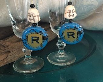 Rolling Rock Beer Cap Earrings Bottle Crown Dangle Buddha Head & Pearl Glass Beads OOAK