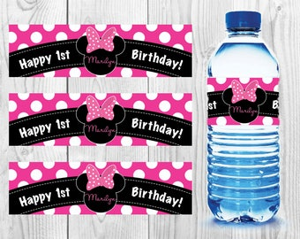 MINNIE MOUSE BIRTHDAY Water Bottle Labels - Stickers - Waterproof - Mickey Mouse - Party - Oh toodles