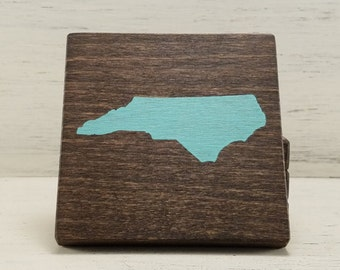 Pick State, Pick Color, North Carolina Wood Coasters, Set of 4, Wedding, Housewarming