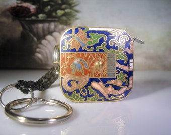 Cloisonné Measuring Tape, Cloisonné Keychain, Cloisonné Purse Fob, Measuring Tape, Keychain, Purse Fob, Vintage Measuring Tape, Collectible