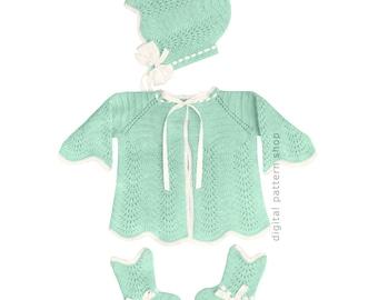 Baby Knitting Pattern Girls Raglan Sweater Bonnet & Booties Pattern Scalloped Hem PDF Instant Download Infant to Six Months K11