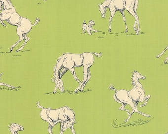 Wild Horse Fabric - Purebred by Erin Michael for Moda - Horses on Pasture Green - Fabric By the Half Yard