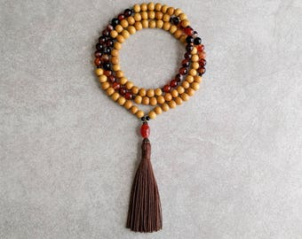 Nangka Mala Beads with Agate - Tibetan Prayer Beads - Buddhist Rosary - Meditation Necklace - Item # 909