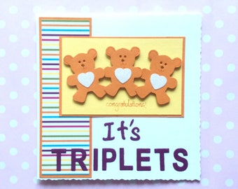 Triplets card - congratulations - welcome newborn, new baby triplets - pink, blue or orange teddies - unisex, girls or boys - colourful card