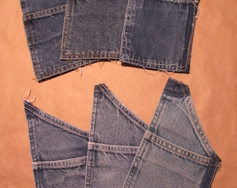 Recycled Denim Pockets  Cargo/Overall Tool Pockets 6 pcs. Embellishement for DIY Projects