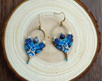 macrame earrings, hoop earrings, macrame jewelry with brass beads (A51)