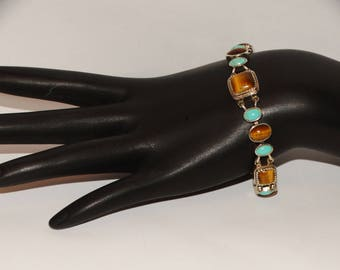 Sterling Silver Stamped With Turquoise & Tiger Eye Stone Bracelet.