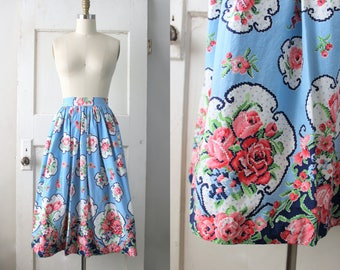 Vintage 1950s Cotton Circle Skirt / 50s Floral Print Skirt / Cross Stitch Rose Skirt