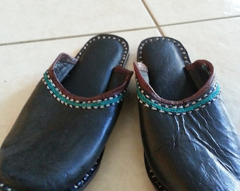 Embroidered soft black Leather Indian slippers shoes size 8 EUR 38