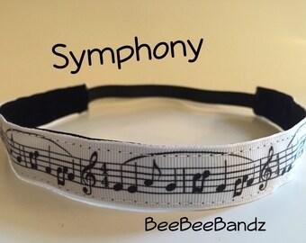 No-Slip Headband Musical Notes Handmade Activewear Hair Bands Accessories, BeeBeeBandz Headbands
