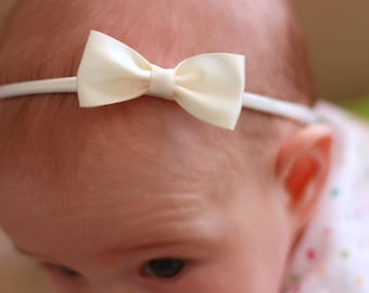 Ivory Baby Bows - Ivory Flower Girl Headband - Small Satin Ivory Bow Handmade Headband - Newborn to Adult Headband