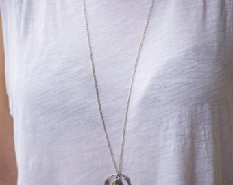 A silver stone necklace, beach stone, wire nickle jewelry, long necklace, wire wrapping