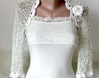 Wedding white bolero, Unique bridal white shrug with crocheted flower