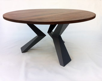 Contemporary Modern Round Dining Table Solid Walnut With Bird Legs In Solid  Walnut On Graphite Steel