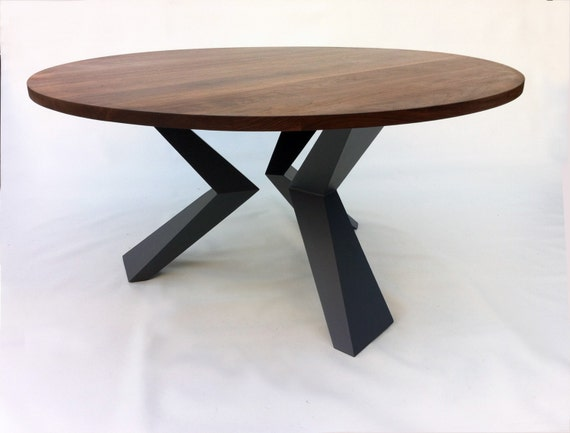 Contemporary Modern Round Dining Table Solid Walnut With Bird