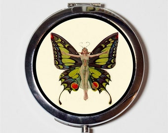 Art Deco Butterfly Compact Mirror - Flapper 1920's Jazz Age Roaring 20s Butterflies - Make Up Pocket Mirror for Cosmetics