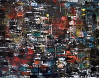 "Original Abstract Oil Painting by Nalan Laluk: ""My City"""