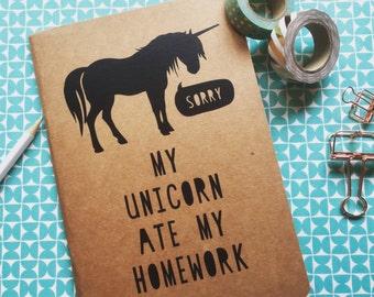Kraft Notebook Travel Journal School Exercise | Unicorn Quote 'My Unicorn Ate My Homework'