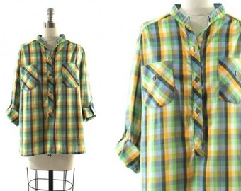 1970s green plaid shirt •  roll up sleeve blouse • green plaid blouse M