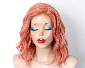 Rose gold wig. Pastel wig. Short wig. Beach waves hairstyle wig. Durable heat friendly wig for everyday wear or Cosplay.