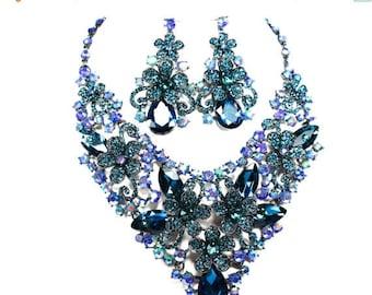 SALE SALE Blue Zircon Bridal Statement Necklace, Blue Zircon Crystal Wedding Necklace, Blue Crystal Evening Necklace EC - 46